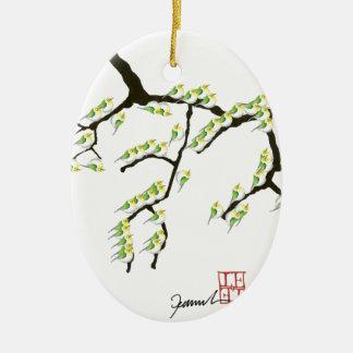 sakura with green birds, tony fernandes ceramic ornament
