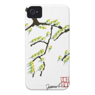 sakura with green birds, tony fernandes iPhone 4 case