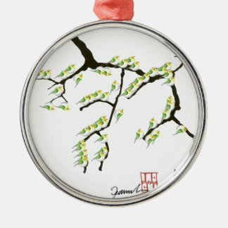 sakura with green birds, tony fernandes metal ornament