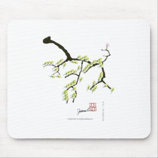 sakura with green birds, tony fernandes mouse pad
