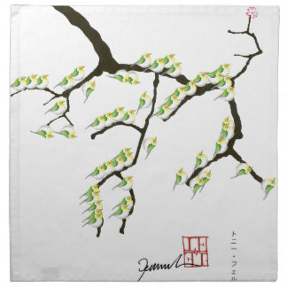 sakura with green birds, tony fernandes napkin
