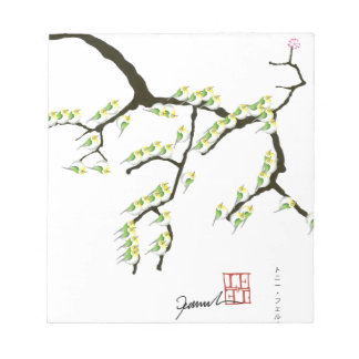 sakura with green birds, tony fernandes notepad