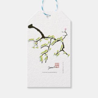 sakura with green birds, tony fernandes pack of gift tags