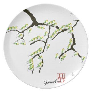 sakura with green birds, tony fernandes party plates