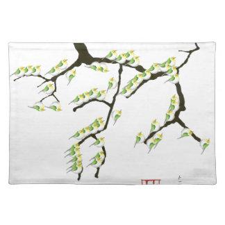 sakura with green birds, tony fernandes placemat