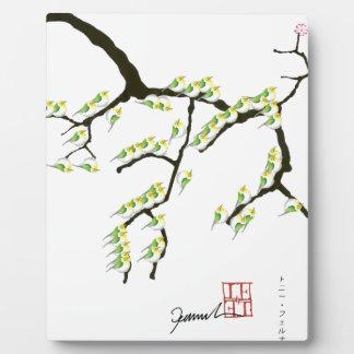 sakura with green birds, tony fernandes plaque
