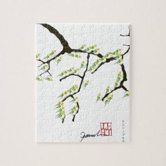 sakura with green birds, tony fernandes puzzles
