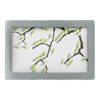 sakura with green birds, tony fernandes rectangular belt buckle