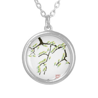 sakura with green birds, tony fernandes silver plated necklace