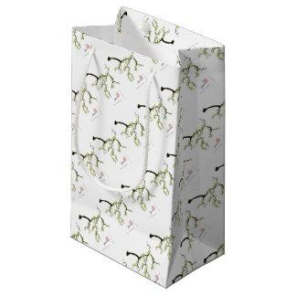 sakura with green birds, tony fernandes small gift bag