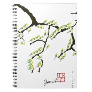 sakura with green birds, tony fernandes spiral notebook