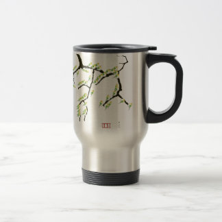 sakura with green birds, tony fernandes travel mug