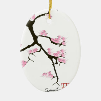 sakura with pink birds by tony fernandes ceramic ornament