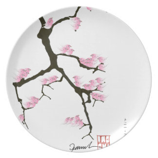 sakura with pink birds by tony fernandes dinner plates