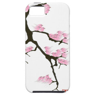 sakura with pink birds by tony fernandes iPhone 5 cases