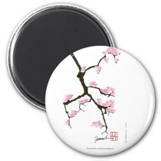 sakura with pink birds by tony fernandes magnet
