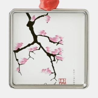 sakura with pink birds by tony fernandes metal ornament