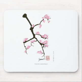 sakura with pink birds by tony fernandes mouse pad