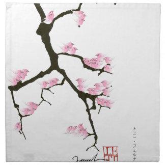 sakura with pink birds by tony fernandes napkin