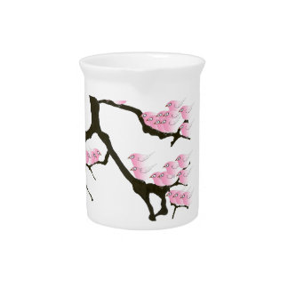 sakura with pink birds by tony fernandes pitcher