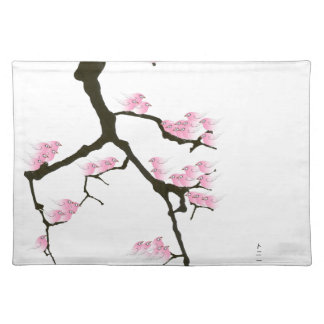 sakura with pink birds by tony fernandes placemat