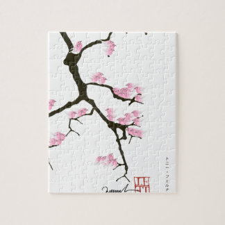 sakura with pink birds by tony fernandes puzzle