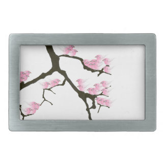 sakura with pink birds by tony fernandes rectangular belt buckle