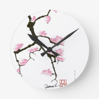 sakura with pink birds by tony fernandes round clock
