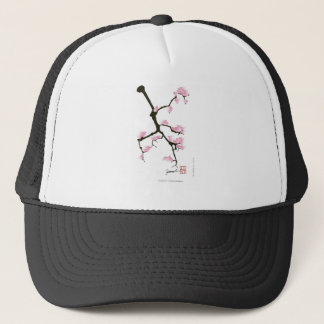 sakura with pink birds by tony fernandes trucker hat
