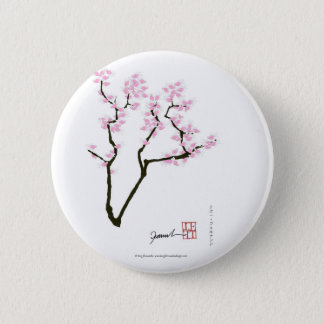 sakura with pink goldfish, tony fernandes 2 inch round button