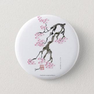 sakura with pink goldfish, tony fernandes 2 inch round button