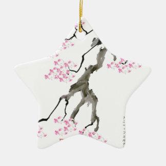 sakura with pink goldfish, tony fernandes ceramic ornament