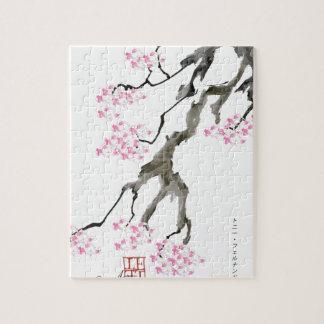 sakura with pink goldfish, tony fernandes jigsaw puzzle