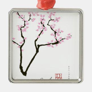 sakura with pink goldfish, tony fernandes metal ornament