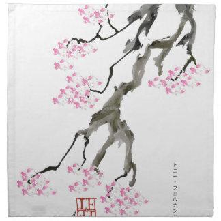 sakura with pink goldfish, tony fernandes napkin