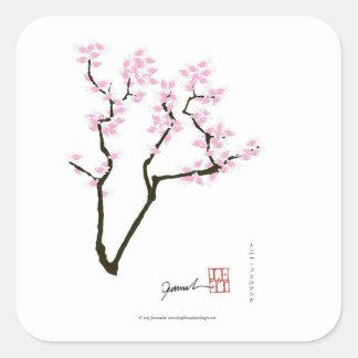 sakura with pink goldfish, tony fernandes square sticker