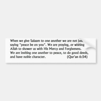 Salaam Message Bumper Sticker