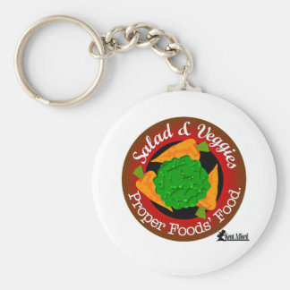 Salad and Vegetables vs Meat Basic Round Button Keychain