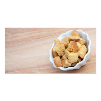 Salad Croutons in a bowl Customized Photo Card