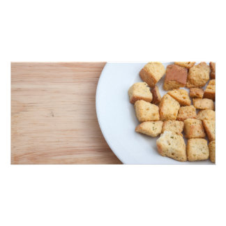 Salad Croutons on a plate 2 Photo Greeting Card