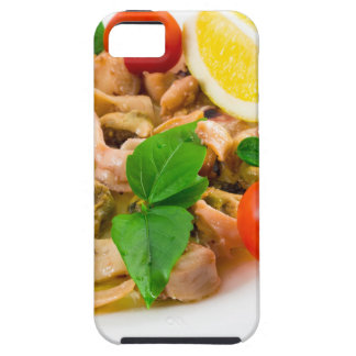 Salad of blanched pieces of seafood on a plate case for the iPhone 5