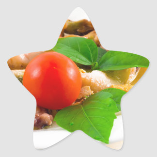 Salad of blanched pieces of seafood on a plate star sticker