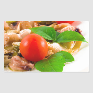 Salad of blanched pieces of seafood on a plate sticker