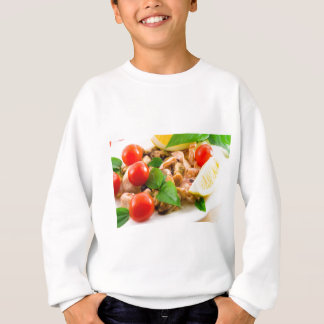 Salad of blanched pieces of seafood on a plate sweatshirt