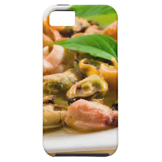 Salad of blanched seafood on a white plate case for the iPhone 5