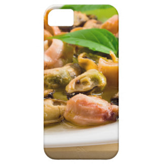 Salad of blanched seafood on a white plate iPhone 5 cover