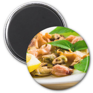Salad of blanched seafood on a white plate magnet