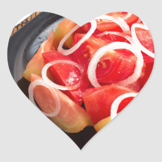 Salad of red and yellow tomato heart sticker