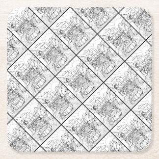 Salamander Barton Creek Line Art Design Square Paper Coaster