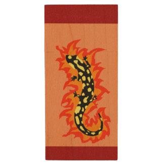 Salamander Flaming Wood USB Flash Drive